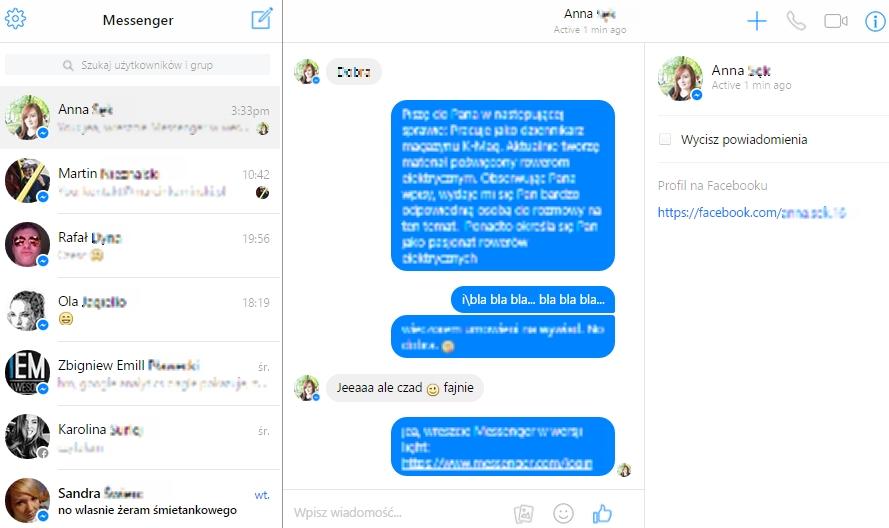 Messenger przez przeglądarkę