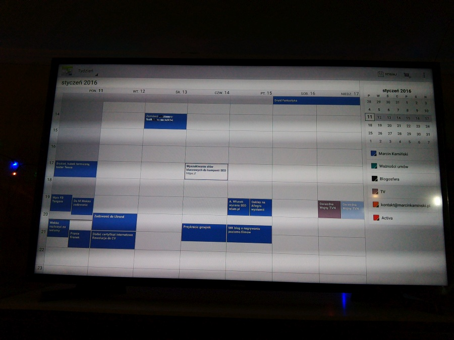 Kalendarz Google na smart TV