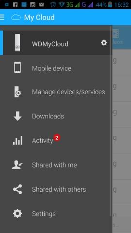 Interfejs WD My Cloud - aplikacja na smartfonie
