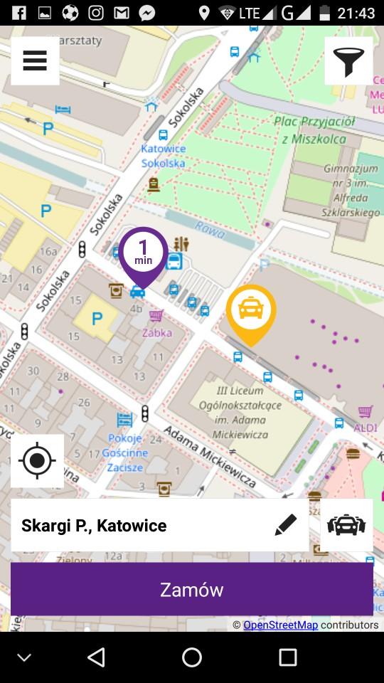 Zamawianie taksówki przez aplikację