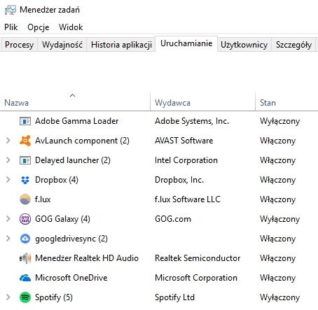 Programy automatycznie uruchamiane przy starcie Windows