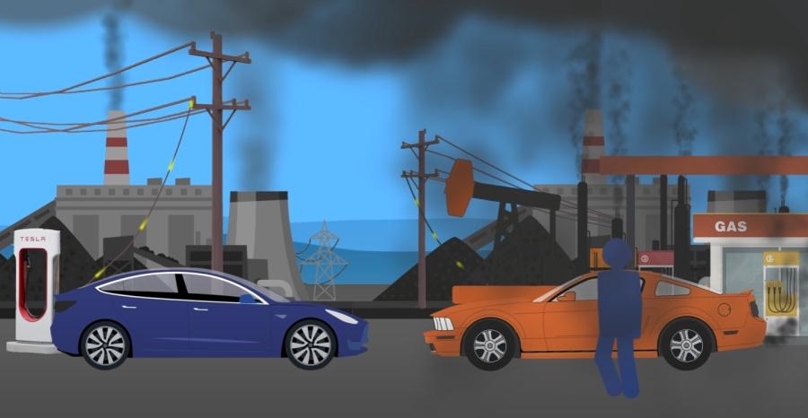 Samochód elektryczny i spalinowy